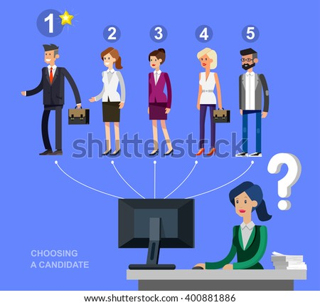 Hiring process concept with candidate selection. Vector detailed character, cool flat  illustration - stock vector