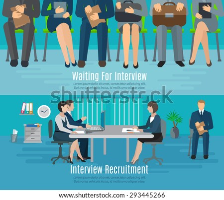 Hiring process horizontal banner set with people waiting for recruitment interview flat elements isolated vector illustration - stock vector