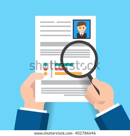Hiring. Use a magnifying glass to see the resume. banner poster background illustration flat vector design  - stock vector