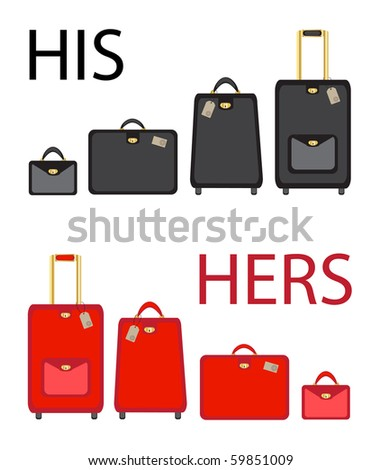 His and hers luggage sets on white background. EPS10 vector format - stock vector