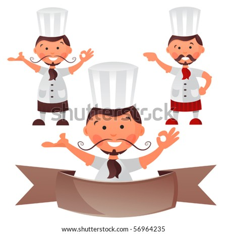His name is Mr. Simple  he's always happy to deliver your message to the audience he can take so may roles and knows may careers, he is now a chef - stock vector