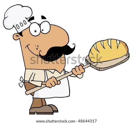 Hispanic Cartoon Bread Maker Man - stock vector