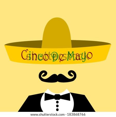 hispanic man wearing Cinco De Mayo (5th of May) celebration sombrero - stock vector