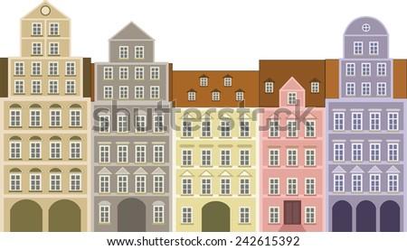 historic houses - stock vector