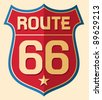 Historic Route US 66 Sign - stock vector