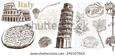 historic sites and attractions of Italy. handmade illustration