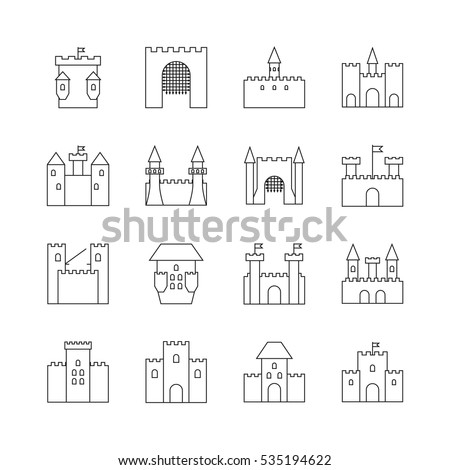 Castle outline stock images royalty free images vectors historical ancient castle linear icons citadel and chateau fortress outline vector icons castle with pronofoot35fo Images