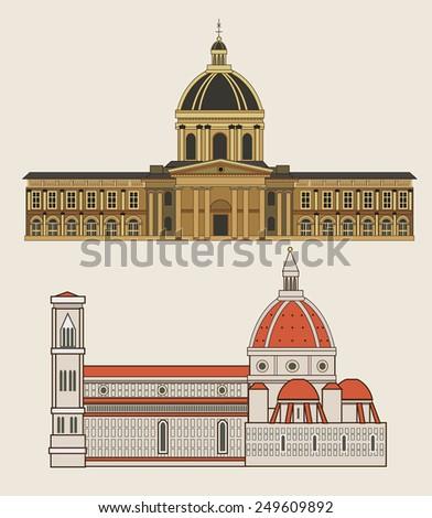 historical building facades: Academic des Sciences in Paris, Santa Maria del Fiore in Florence, vector drawing  - stock vector