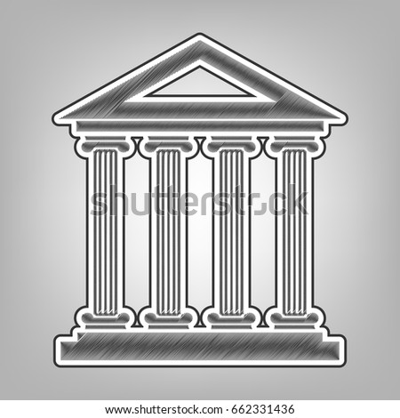 Historical building illustration. Vector. Pencil sketch imitation. Dark gray scribble icon with dark gray outer contour at gray background.