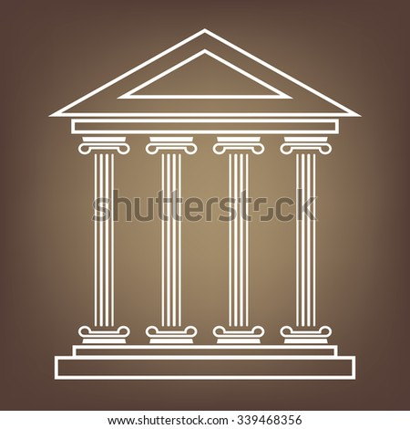 Historical building line  icon, vector illustration. Flat design style