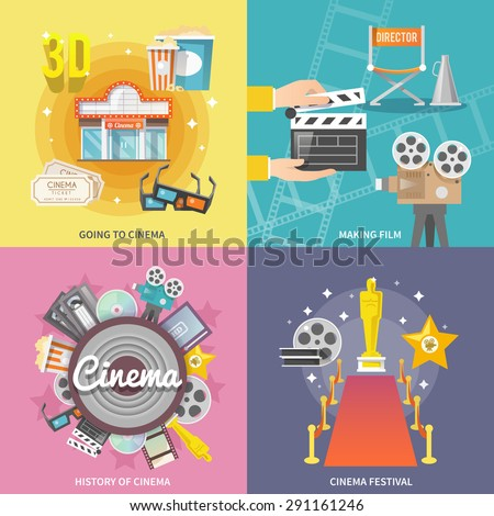 Historical cinema festival movie theater entrance tickets set 4 flat icons square composition abstract isolated vector illustration - stock vector