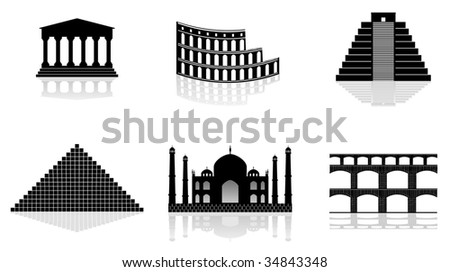 historical monuments vector illustrations - stock vector