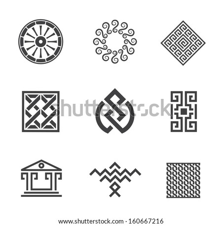 History of human architecture construction business frame and decoration creativity symbol logo - stock vector