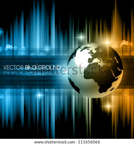 Hitech Abstract Business Background with Abstract Glowing motive and 3D earth. - stock vector