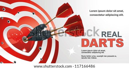 Hitting Red heart target aim with arrow vector illustration. - stock vector
