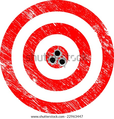 Hitting the Target with a Bullseye (Grunge Vector) - stock vector