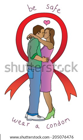 HIV-aids awareness campaign featuring an African couple embracing in an Aids ribbon, with the slogan Wear and Care. - stock vector