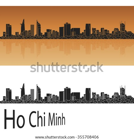 Ho Chi Minh skyline in orange background in editable vector file - stock vector