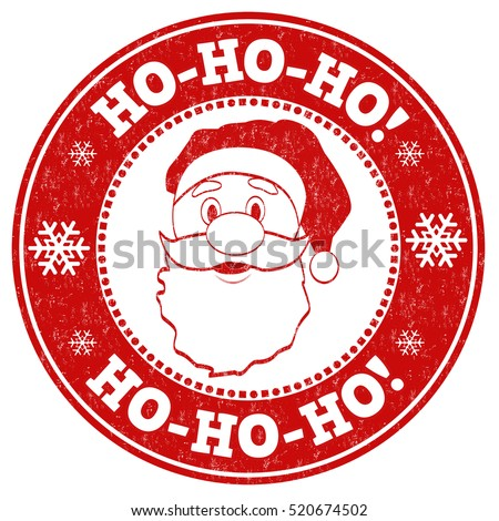 Ho-Ho-Ho! grunge rubber stamp on white background, vector illustration