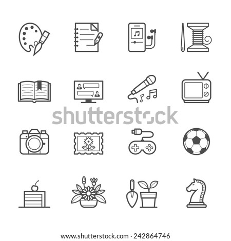 Hobbies Icons - stock vector