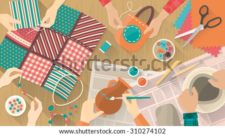 Hobby and crafts banner, people working on different projects, ceramics, painting, sewing, quilting and jewelry, hands top view - stock vector