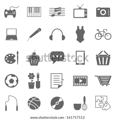 Hobby icons on white background, stock vector - stock vector