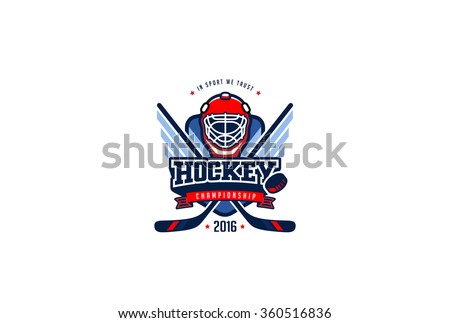Hockey Badge Logo Design vector template. T-shirt Graphics Sport Team Identity Logotype Illustration Label isolated on white Background. - stock vector