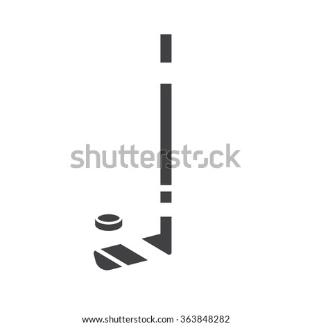 Hockey club outline black and white icon. Winter sport monochrome pictogram for web and app. Hockey stick and puck simple shape vector. - stock vector