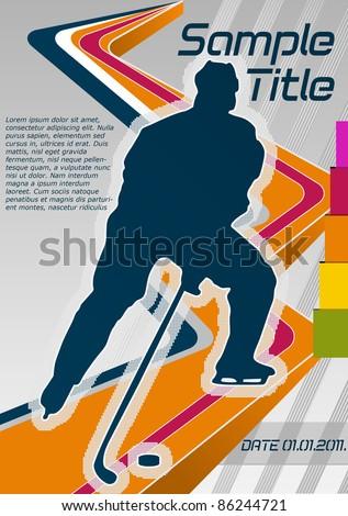 Hockey concept poster template. Vector illustration. - stock vector