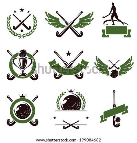 Hockey field labels and icons set. Vector - stock vector