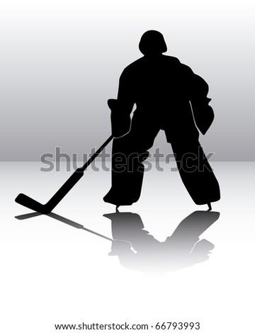 hockey goalie on a gray background - stock vector