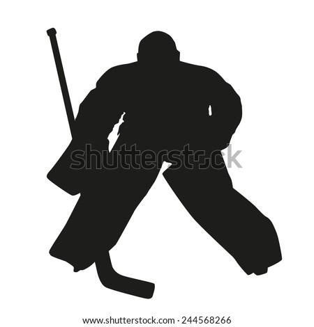 Hockey goalie. Vector silhouette - stock vector