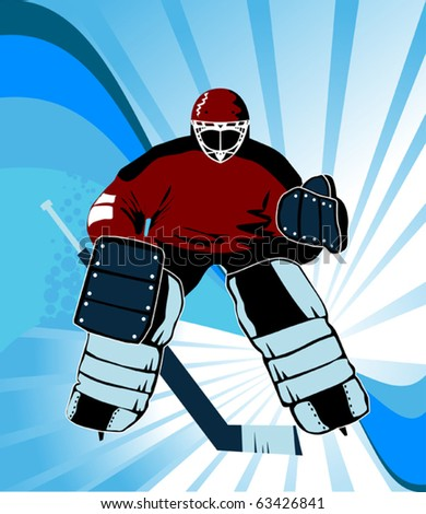 Hockey goalkeeper is there to protect the gate; - stock vector