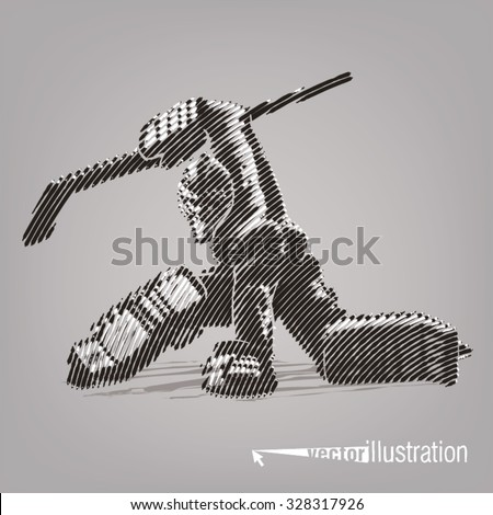 Hockey goaltender. Vector artwork in the style of ink drawing - stock vector