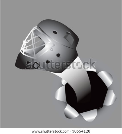 hockey helmet out of paper hole