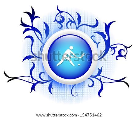hockey icon on blue decorative button - stock vector