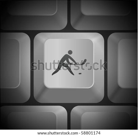 Hockey Icon on Computer Keyboard Original Illustration - stock vector