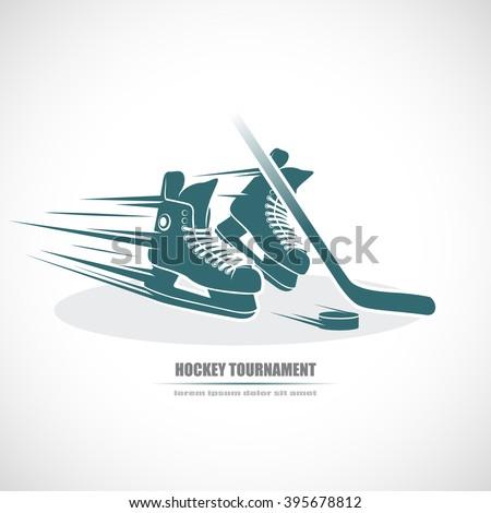 Hockey icon. Skates, hockey stick, puck. - stock vector