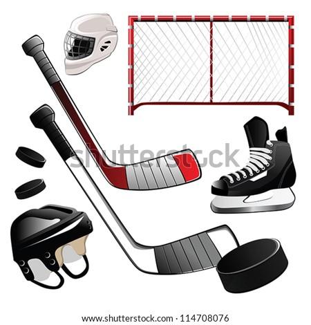 hockey icons - stock vector
