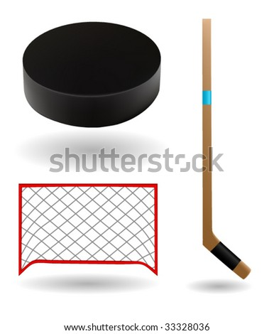hockey icons vector - stock vector