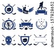Hockey labels and icons set. Vector  - stock vector