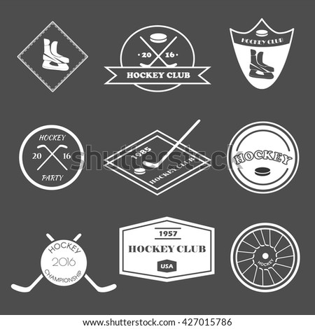 Hockey logo set in vector. Creative monochrome badge. Hockey club, hockey championship, sport elements. Perfect for logo, banners, stickers. - stock vector