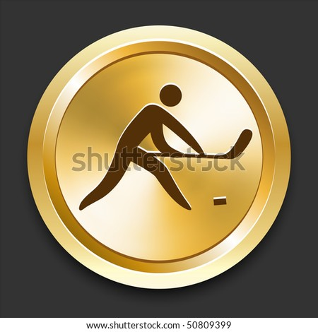 Hockey on Golden Internet Button Original Illustration