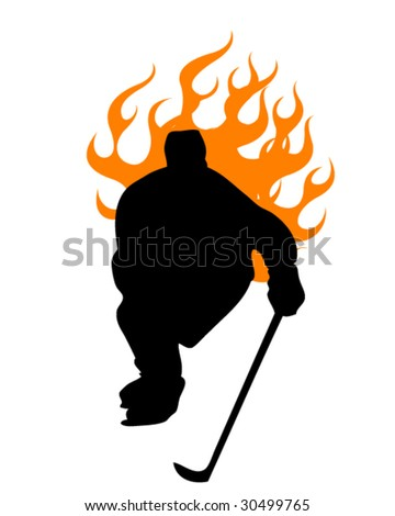 hockey player #2 - stock vector