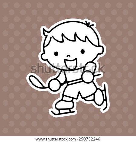 Hockey player cartoon illustration isolated on brown background without color - stock vector
