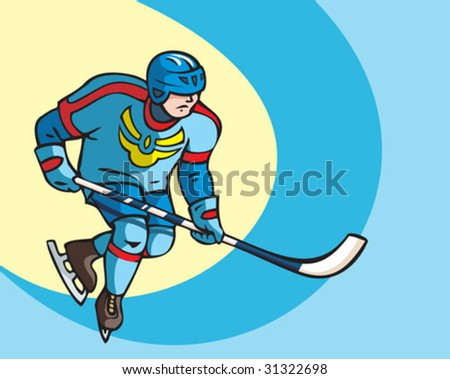 Hockey player, icy background, vector illustration
