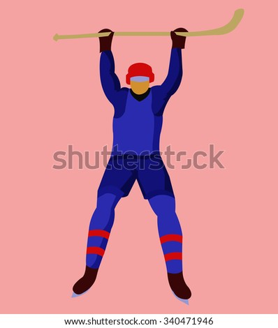 Hockey Player in Blue Uniform with a hockey stick and skates. Colorful winter sports mascot or emblem of a hockey man player. Digital vector illustration.