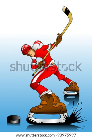 Hockey player makes a strong shot on goal rival; action; - stock vector