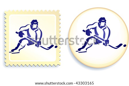 Hockey player on button and stamp Set Original Vector Illustration Stamp and Button Set