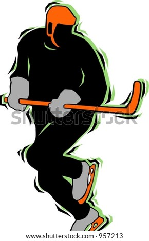 Hockey player.Pantone colors.Vector illustration